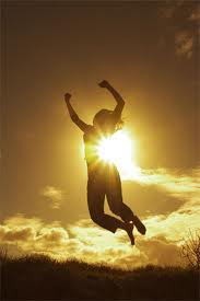 Success image woman jumping